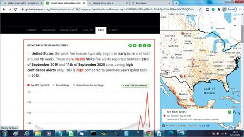 Forest fire alerts in the United States in September (Credit: www.globalforestwatch.org)